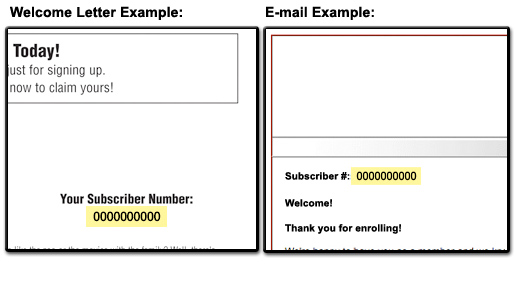 Welcome letter example depicting the location of your subscriber number.